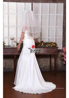Wedding Veil Bridal Veil Simple Short 3 Tiers Veil Waist Length Veil with Comb Style BV061 - Wedding Veil