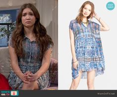 Riley's blue printed shirtdress on Girl Meets World.  Outfit Details: http://wornontv.net/51108/ #GirlMeetsWorld