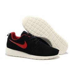 Nike Roshe Run Leder Schwarz Rot Weiß Männer