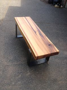 Live edge bench Live edge cedar slab with 4 inch flat bar steel legs