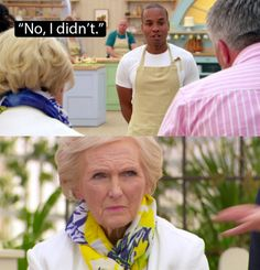 """When Mary asked Enwezor whether he made his own fondant and he admitted that he bought it. 30 BBC """"Bake Off"""" Moments You Will Never Be Able To Forget British Baking Show Recipes, British Bake Off Recipes, Great British Bake Off, Bbc Bake Off, Mel And Sue, British Baker, Pride Of Britain, Paul Hollywood, British Humor"""