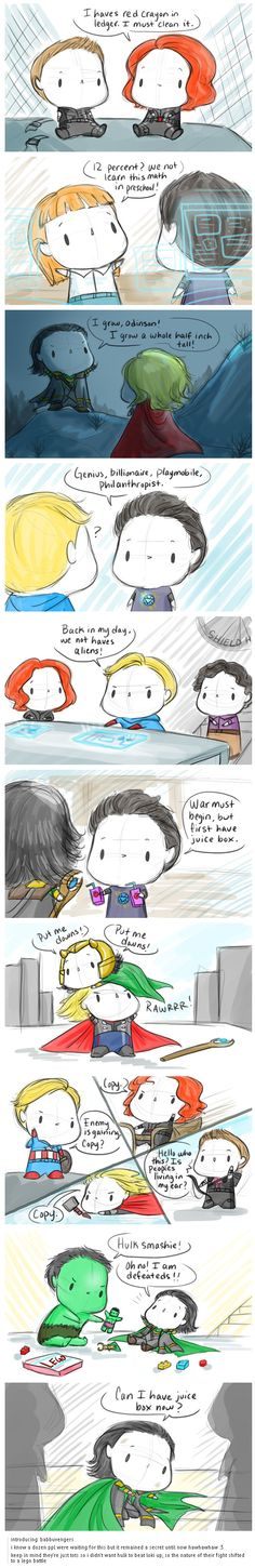 O.O I love this so much!!!!! http://lokis-gspot.tumblr.com/post/80887060552/introducing-babbuvengers-i-know-a-dozen-ppl-were