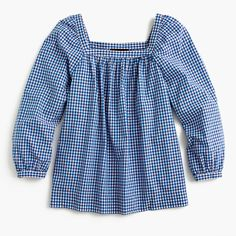 Meet Penny, our newest square-neck peasant top that's a year-round must. We made this one in a gingham-printed cotton fabric that's easy to dress up or down. Body length: 24 1/2. Cotton. Machine wash. Import.