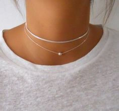silver simple Silver Set of 2 Chokers, Layered Set Of Two Sterling Silver Necklaces, Silver Choker, Simple Silver Necklace, Short Silver Necklace Simple Necklace, Dainty Necklace, Sterling Silver Necklaces, Necklace Set, Silver Earrings, Silver Jewelry, Gold Necklace, Gold Bracelets, Diamond Earrings