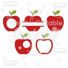 Whole+Split+&+Monogram+Apples+FREE+SVG+Cut+File+&+Clipart