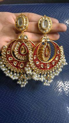 Kundan Jewellery Latest Designs & Trends for Asian Women- Jhumkas India Jewelry, Gold Jewelry, Jewelery, Diamond Jewellery, Gold Necklaces, Ethno Style, Indian Accessories, Jewelry Design Earrings, Gemstone Earrings