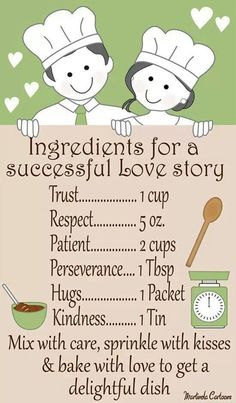 Marriage ingredients - perfect to add to a recipe book