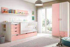 chambre bébé fille avec lit évolutif - GLICERIO #chambrebebe #babyroom #baby #roomdesign