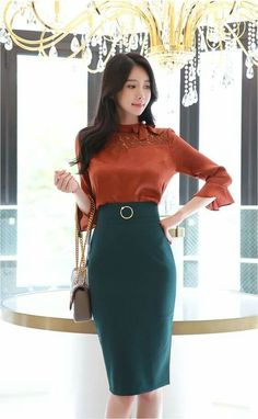 Fashion Sites, Fashion Models, Girl Fashion, Fashion Dresses, Womens Fashion, Pretty Asian, High Waisted Pencil Skirt, Elegant Outfit, Cute Casual Outfits