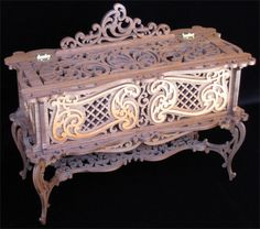 Jewel cabinet, scroll saw fretwork pattern