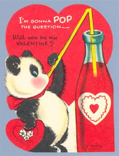 vintage valentine card - I have a thing for cute pandas.