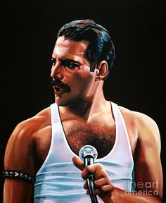 Freddy Mercury of Queen - realistic acrylic painting by the dutch fine artist Paul Meijering - the Original painting is 90 x 70 cm - sold Queen Freddie Mercury, Freddie Mercury Tattoo, John Deacon, Freedy Mercury, Soprano, Queen Art, Somebody To Love, Killer Queen, Save The Queen