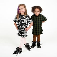 AW16 : IKAT & BUFFALO PLAID TUNICS & FAUX SUEDE LEGGINGS in FROST PINK & TOBACCO  NOW AVAILABLE // http://ift.tt/1nmv7ON // #freddietheyeti #aw16 #highend #kidsfashion #kidapproved #cozycouture #streetwear #doubletrouble #cutandsew #supra @suprafootwear #docmartens @docmartensshoes
