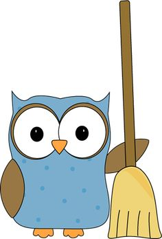 Owl with a Broom Clip Art - Owl with a Broom Vector Image