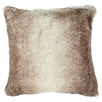 Grey Coyote Faux Fur Pillow Cover - 18