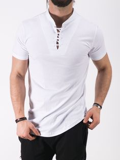 K&B Men Lace Mock Neck T-shirt - White