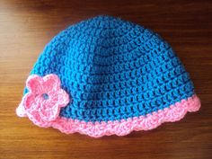 Blue and Pink Flower Spring Hat 2T  4T by kellyjean2011 on Etsy, $8.00