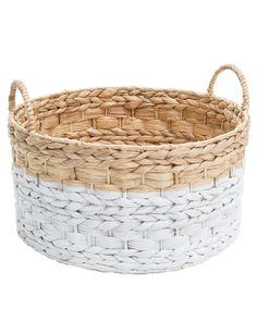 Add a sophisticated touch to your home decor with this round water hyacinth basket with handles from Tilly@home.
