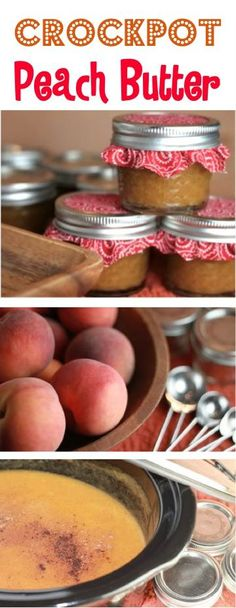 Yummy Peaches + Your Slow Cooker = delicious homemade Crockpot Peach Butter Recipe! Are you ready for some delicious goodness? Jam Recipes, Canning Recipes, Fruit Recipes, Jelly Recipes, Canning Tips, Recipies, Crock Pot Slow Cooker, Crock Pot Cooking, Slow Cooker Recipes