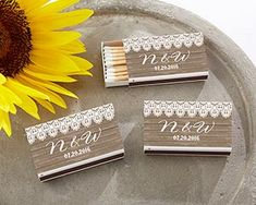 Personalized Black Matchboxes Country Set of 50 Lace Wedding Matches Favor Match Box Monogram Country Chic Rustic Wedding Bridal Shower Gift Burlap Wedding Decorations, Rustic Wedding Favors, Wedding Ideas, Chic Wedding, Dream Wedding, 2017 Wedding, Farm Wedding, Wedding Engagement, Wedding Stuff