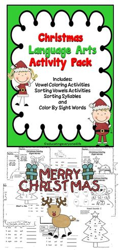 Christmas Language Arts Activity Pack - Includes a bundle of language arts activities for the elementary classroom. #teaching