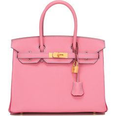 Pre-Owned Hermes Tri-color SO Horsehoe 5P Chevre Birkin 30cm GHW (2.761.575 RUB) ❤ liked on Polyvore featuring bags, handbags, tote bags, purses, totes, pink, zip lock bags, pre owned handbags, colorful purses and pink purse