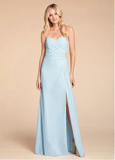 Style 5913 Hayley Paige Occasions bridesmaids gown - Oasis chiffon A-line gown, strapless sweetheart neckline, draped bodice and skirt, front slit.Spring 2019 Bridesmaids dresses arriving in stores early January Bridesmaid Dress Styles, Bridal Dresses, Bridesmaids, Prom Dresses, Strapless Sweetheart Neckline, Strapless Dress Formal, Stylish Dresses, Fashion Dresses, Bridal Reflections