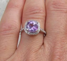 Cushion Cut Engagement Ring Purple Sapphire and by pristinejewelry, $1163.00