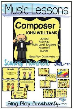 How you can use John Williams Music in your Music Class today teaching music concepts, and movement activities. Music Education Activities, Movement Activities, Interactive Activities, Teaching Resources, Physical Education, Listening Activities, Teaching Ideas, Health Education, Drama Activities