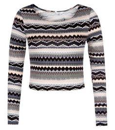 New Look Pink Aztec Stripe Long Sleeve Crop Top