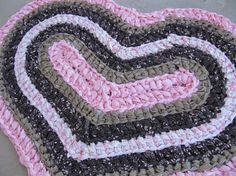 Pinks and browns crocheted heart rag rug