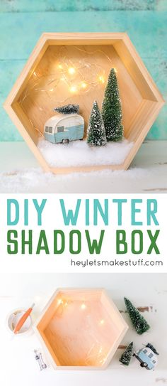 This easy winter shadow box houses a retro Christmas camper, bottle brush trees, and twinkle stars! Easy to put together and festive for the holidays.