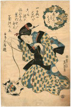 #Japanese Bob Tail Cat 『美人花くらべ』英泉