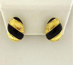 David Webb 18k Gold Black Enamel Half Hoop Earrings Featured in our upcoming auction on September 13!
