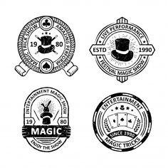 Set of vintage magician badges Premium Vector Retro Background, Background Patterns, Label Design, Logo Design, Memphis Pattern, How To Age Paper, Free Vector Illustration, Memphis Design, Wedding Card Design
