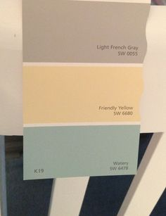 Sherwin Williams light French gray, friendly yellow, and watery. PERFECT for the LR, DR and Kitchen