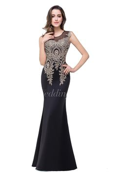 Newest Lace Appliques Mermaid 2016 Prom Dress Sweep Train Illusion. #black #long #DorisWedding.com