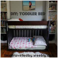 Toddler Bunk Bed Diy - Toddler bed is a good thing that you need to prepare when your child grows up. Bunk Beds With Stairs, Cool Bunk Beds, Kids Bunk Beds, Bunk Bed Crib, Bunk Bed Plans, Bed Mattress, Toddler Loft Beds, Toddler Rooms, Diy Crib