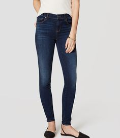 Loft - Petite Denim Leggings in Rich Dark Indigo Wash