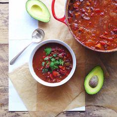 Super Bowl Vegan Chili with black beans, fire roasted tomato & sweet potato