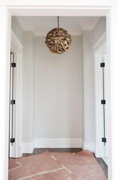 Wall color: Stonington Gray BM Paint, Light Fixtures, Doorknobs, & Green Vanities | Young House Love