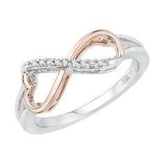 Diamond Earrings Design | Heart Shaped Infinity Diamond Ring in Sterling Silver Two Tone 120 cttw Size55 ** Visit the image link more details. Note:It is Affiliate Link to Amazon.