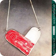 Etched Heart -- Upcycled Tin Necklace by christineterrell on Etsy