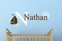 A personal favorite from my Etsy shop https://www.etsy.com/listing/161466881/personalized-name-decal-sailboat-name