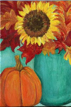 Autumn Decor, Sunflowers Fall leaves pumpkin painting ART in by SharonFosterArt, $25.00, all some real or faux leaves at the base #Falldecorations #Fall #Autumndecor