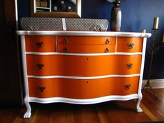 Refinished dresser turned changing table. beautiful