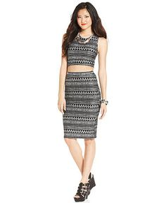 Bar III Sleeveless Crop Top & Fitted Pencil Skirt - Women - Macy's ...