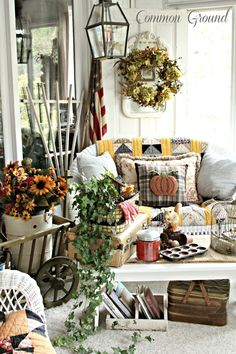 White fall centerpiece, with candle, white pumpkins, pistachios. 35 Fabulous Fall Decor Ideas Ready for autumn? Try out these vintage fall decorating ideas to spruce up your home as the seasons change and up your design game today! Patio Decorating Ideas On A Budget, Porch Decorating, Decor Ideas, Cottage Decorating, Holiday Decorating, Vintage Fall Decor, Glass Pumpkins, White Pumpkins, House With Porch