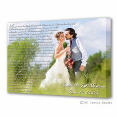 Song lyrics custom canvas print.  Wedding photo with text.  Cotton canvas print art. Anniversary gift.  Wedding gift. Song lyrics print.