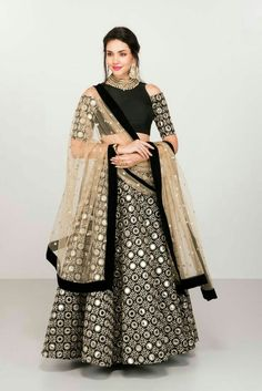 Admirable Black Colored Designer Lehenga Choli with Matching Color unstiched blouse. It contained the Embroidered work with inner. The Lehenga can be customized up to bust size Lehenga Length Waist size and Dupatta size Mtr. Indian Bridal Fashion, Indian Wedding Outfits, Indian Outfits, Designer Bridal Lehenga, Bridal Lehenga Choli, Indian Gowns, Indian Attire, Pakistani Dress Design, Pakistani Dresses